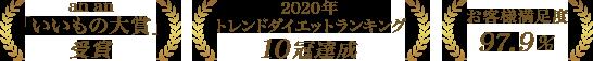 an an「いいもの大賞」受賞、2020年トレンドダイエットランキング10冠達成、お客様満足度97.9%